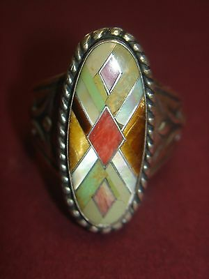 Sterling Silver Inlaid  Gemstone Carolyn Pollack Ring Size 6 1/2