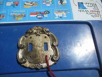 Vintage *** VERNON *** Brass Metal 2-Gang Toggle Switch Wall Plate