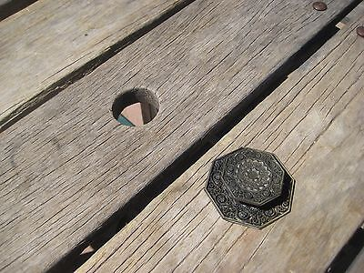 Vintage * TOYO * Ornate Brass Drawer Cabinet Knob with Backplate Set of 1 JAPAN