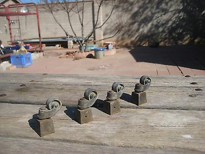"Antique 13/16"" Diameter ** Small Brass Chair Table Furniture Casters ** Set of 4"
