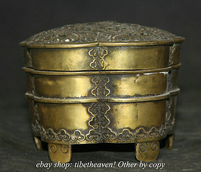 12CM Old Chinese Copper Qing Dynasty Hollow Out Flower Incense Burner Censer