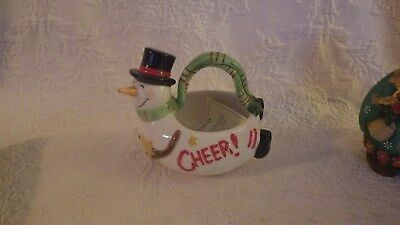 Fitz & Floyd Holiday Home Wishes Snowman Candy Dish Christmas Decoration New