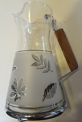 Mid-Century Modern Libby Frosted Silver Maple Leaf Bar Pitcher And Glasses