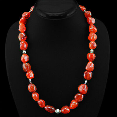 Breathtaking Rare 629.30 Cts Natural Untreated Orange Carnelian Beads Necklace
