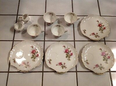 Vintage Victorian Moss Rose Shell Plate Footed Tea Cup Japan Sugar & Creamer