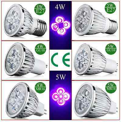 E27 GU10 MR16 4W/5W UV LED Ultraviolet Spotlight Lamp Light Mini Bulb AC85-265V