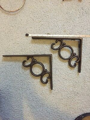 "Lot/Set 2 Antique-Style Cast Iron FANCY 9 1/2"" SHELF BRACKETS Hangers"