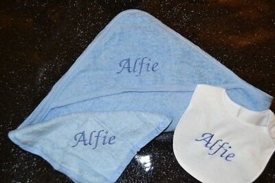 3Pc Personalised Baby Hooded Towel Set