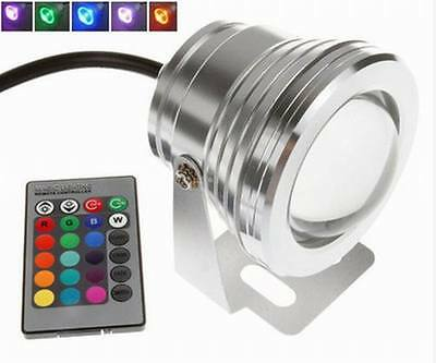 Remote IP68 Waterproof 10W 12V RGB LED Underwater Spot Light Pond Aquarium Lamps