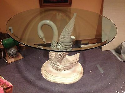 Vintage Carved Wooden Swan Dining Table Pedestal Base With Glass Top
