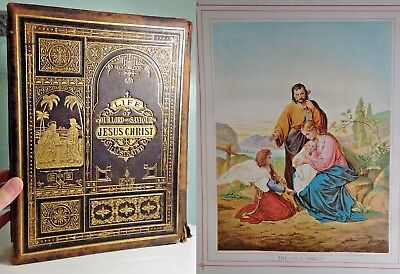 c1880 The Life of Jesus Christ HUGE Colour Plates CHRISTIANITY Tooled Leather