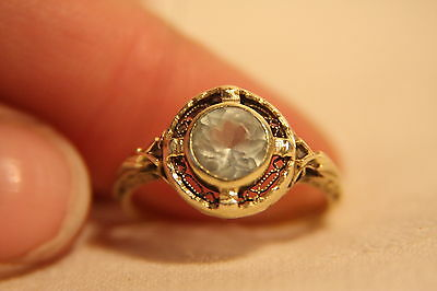 Victorian 14K Yellow Gold Ornate Filigree Crown Set Ice White Topaz Ring Sz 6