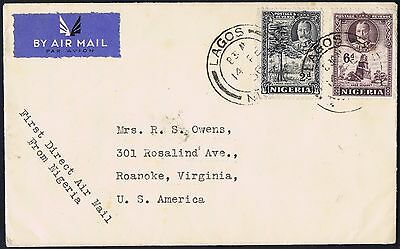 1936 Nigeria Lagos Air Mail First Direct Flight ever to USA Fine Letter within