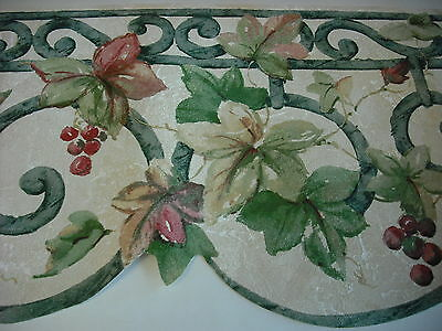 TUSCAN WROUGHT IRON  BERRIES & IVY  LEAF  SCOLLOPED by NORWALL Wallpaper Border