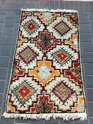 ORIGINAL ANTIQUE MOROCCAN WOOL CARPET RUG HAND MADE 138x83-cm / 54.3x32.6-inches