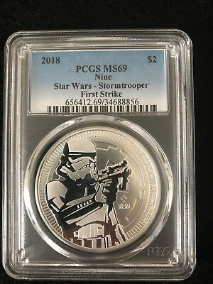 2018 1 oz Niue Silver $2 Star Wars Stormtrooper PCGS MS 69 First Strike