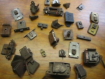 Large Lot of Working Antique Small Locks with Keys, Corners for Trunks Cabinets