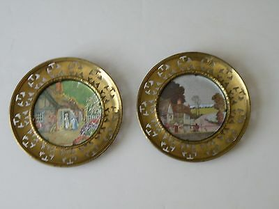 Vintage Solid Brass 2 Plates Foil Lithograph Art Wall Art Made in England