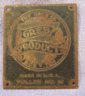 Antique Brass Tag Greb Products Boston Ma Puller # 61