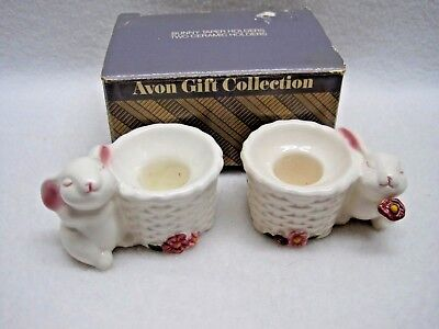 Avon Gift Collection - Two Porcelain White Bunny - Taper Candle Holders