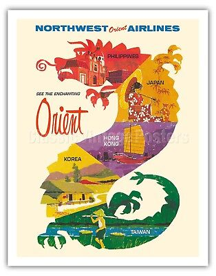 Enchanting Orient - Northwest Orient Airlines - Vintage Travel Poster Art Print