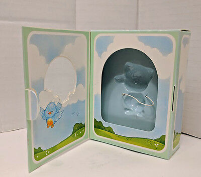 Box only - Hallmark Merry Miniature Greeting - Happy Cat with Bluebird ~ 1983