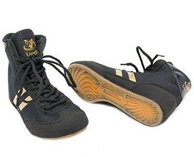 VIPER Boxing Boots - Black & Gold Sports Shoes Trainers Size 6/7/8/9/10 Light