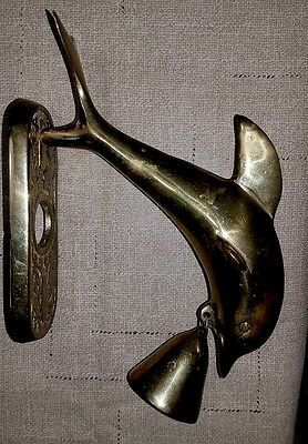 Solid Brass Shop Keepers Door Bell Yard Gate Wall Hang Dolphin Fish Nautical
