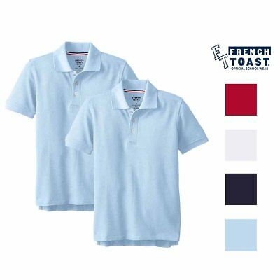 New French Toast Boys Uniform  2 PACK Polo Shirts Sizes & Colors!!