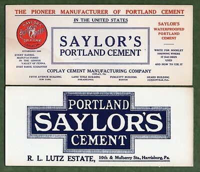 "2 SAYLOR'S PORTLAND CEMENT Ink Blotters - 4""x9"", Coplay Harrisburg PA, Exc Cond"
