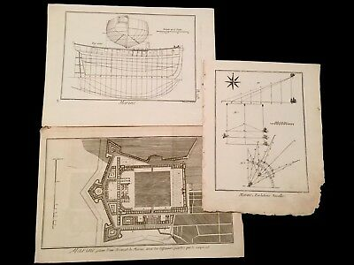 LOT OF THREE NAVAL ENGRAVINGS. Arsenal,Ship Building,Navigation 1700s