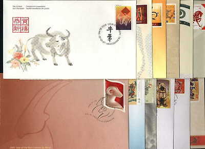 "Canada, 1997-2008, ""year Of Ox To Rat"" Set Of 12  Stamp On 12 Fdc's. Fresh"