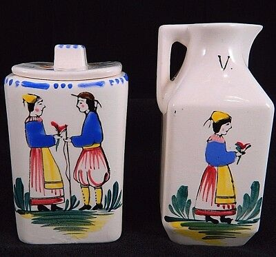 French style Mini Square Lidded Jar and Pitcher made in Japan Hand Painted