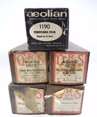 Lot of 5 Vintage Piano Rolls - Polka Related - Good Condition