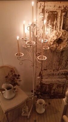Vintage Rustic Metal Candelabra Candle Floor Stand Wedding/Church chippy garden
