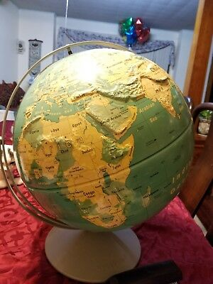 "Vintage Nystrom Large 16"" Readiness Sculptural Relief World Globe Plastic School"