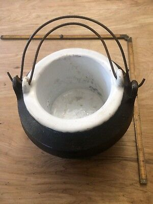 Vintage Cast Iron Glue Pot With Porcelain Pot Insert