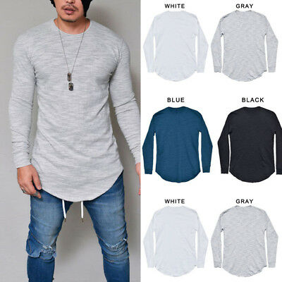 Men's Casual Basic T Shirt Crew Neck Long Sleeve Slim Fit Muscle Tops Blouse Tee