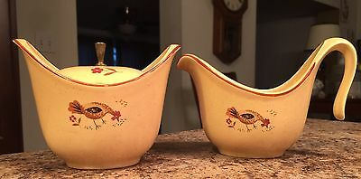 Harmony House Honey Hen Vintage Sugar Bowl And Creamer Set Chickens Rooster Nice