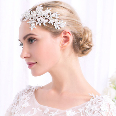 Bridal lace crystal and pearl hairpiece