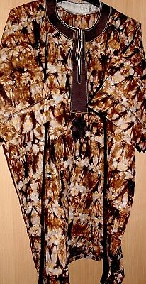 Unique West African fully embroidered top & tye dye Mens~Brown Mix~Fast P&P!