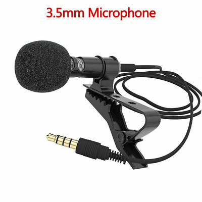 Clip-on Lapel Mini Lavalier Microphone 3.5mm for Mobile Phone PC Recording AU
