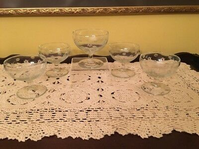 (5) Beautiful Delicate Cut Etched Glass Short Stem Sherbet Bowls
