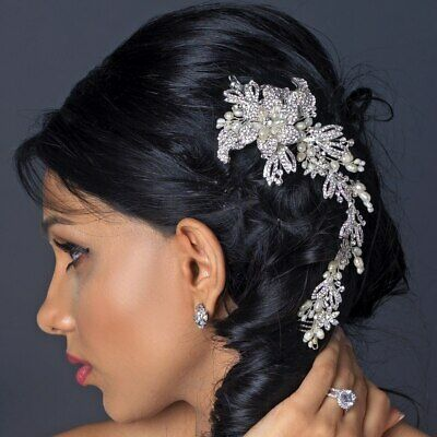 Bridal pearl and crystal hairpiece