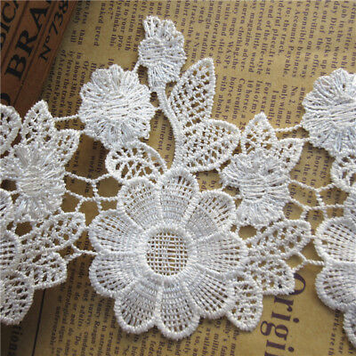 1Yard White Flower Embroidered Lace Edge Trim Ribbon Wedding Applique DIY Sewing
