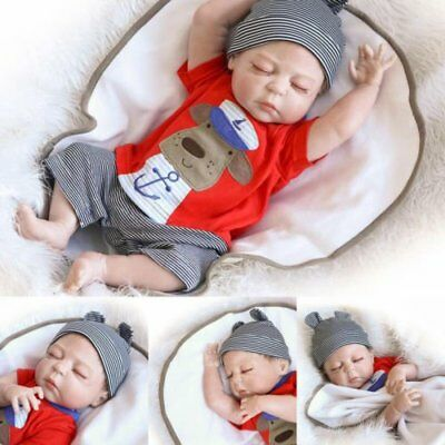 "22"" Full Body Silicone Reborn Sleeping Doll Soft Vinyl Lifelike Newborn Baby Boy"