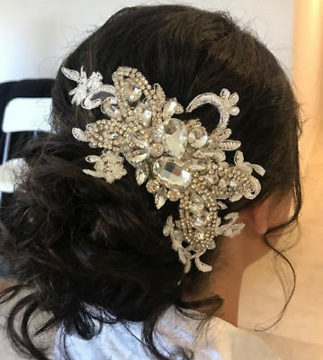 Bridal lace and crystal hairpiece
