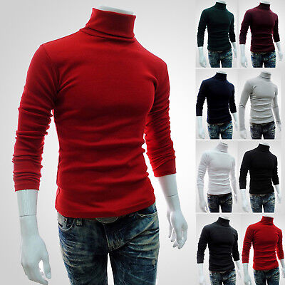 Men's Turtleneck Slim Fit Knitting Tops T-Shirt Casual Jumpers Sweater Pullover