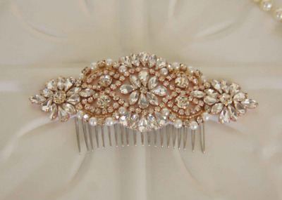 Bridal rose gold crystal hair comb