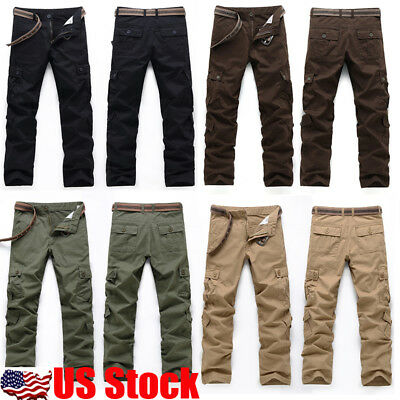 2018 Mens Casual Military Army Cargo Camo Tactical Combat Work Pants Trousers US